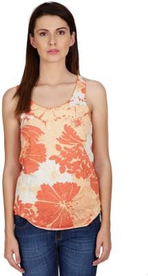 American Swan Casual Sleeveless Printed Women's Orange Top