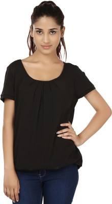 India Inc Casual Short Sleeve Solid Women's Black Top
