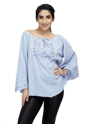 Cappadocia Casual Bell Sleeve Embroidered Women's Blue Top