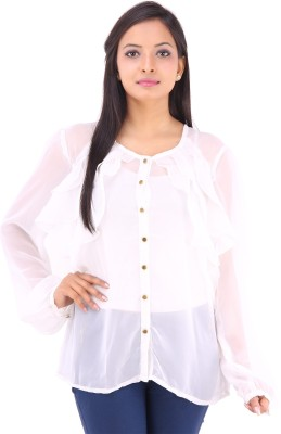 Inblue Fashions Casual Full Sleeve Solid Women's White Top