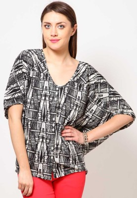 Tops and Tunics Casual Short Sleeve Printed Women's White, Black Top at flipkart