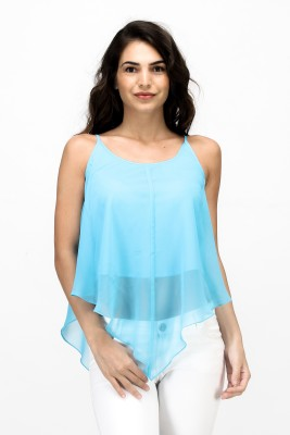 Satovira Party Sleeveless Solid Women's Blue Top