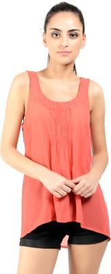 Oranje Casual Sleeveless Solid Women's Orange Top