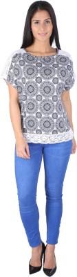 Fashionwardrobe Casual Cap sleeve Printed Women,s Black Top