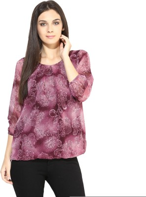 Color Cocktail Casual 3/4 Sleeve Printed Women's Maroon Top