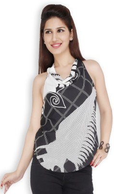 Free Spirited Casual Sleeveless Printed Women's Black Top