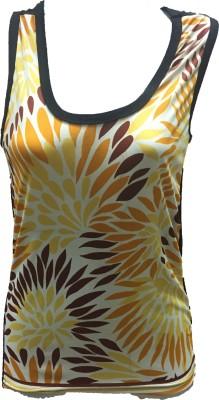 Dovekie Casual Sleeveless Printed Women's Yellow, Brown Top