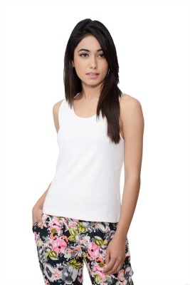 Lamora Casual Sleeveless Solid Women's White Top