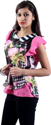 Envy Casual Butterfly Sleeve Floral Print Women's Pink, Black, Yellow, Green Top