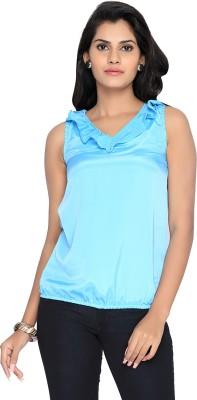 Liba Casual Sleeveless Solid Women's Blue Top