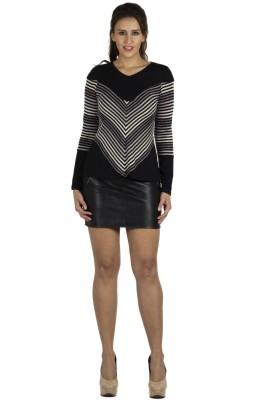 109F Casual Full Sleeve Printed Women's Black Top