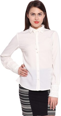 Ozel Casual Full Sleeve Solid Women's White Top
