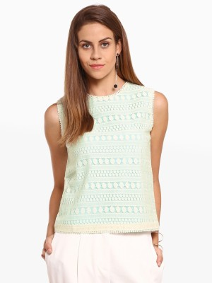 American Swan Casual Sleeveless Solid Women's Green Top