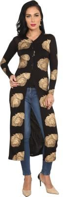Ira Soleil Casual Full Sleeve Floral Print Women's Black Top