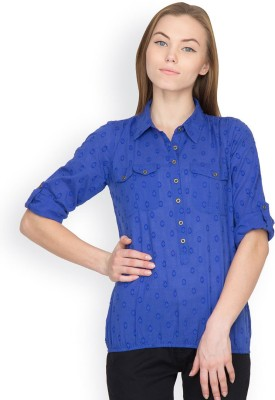 Orous Casual Roll-up Sleeve Solid Women's Blue Top