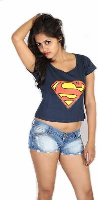Fashion Fakir Casual Short Sleeve Printed Women's Blue Top