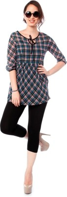 Miss Pink Casual 3/4 Sleeve Checkered Girl's Multicolor Top