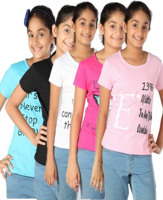 Gkidz Casual Short Sleeve Printed Girl's Multicolor Top