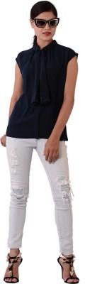 Fashnopolism Casual Sleeveless Solid Women's Blue Top