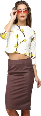 Vodka Fashion India Casual, Party 3/4 Sleeve Floral Print Women's White Top