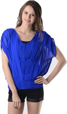 Oranje Casual Short Sleeve Solid Women's Blue Top