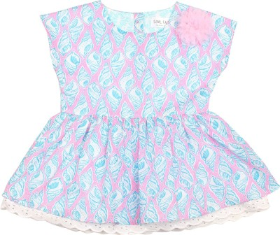 Soul Fairy Casual Cap sleeve Printed Baby Girl's Blue Top