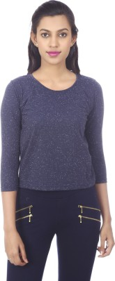karney Casual 3/4 Sleeve Solid Women's Blue Top