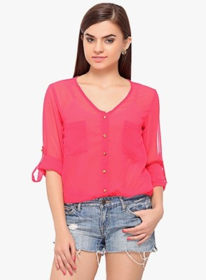 BC International Casual 3/4 Sleeve Solid Women's Red Top