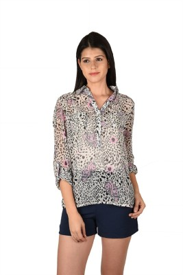 French Creations Casual Roll-up Sleeve Printed Women's Multicolor Top