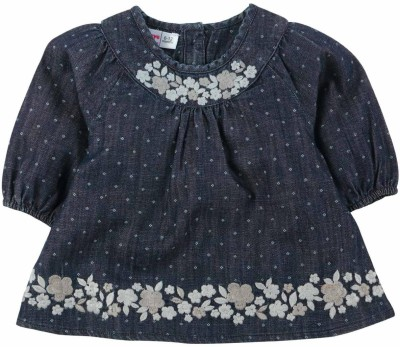 Babyoye Casual Full Sleeve Printed Girl's Dark Blue Top
