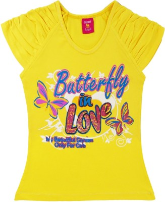 Sweet Angel Casual Short Sleeve Self Design Girl's Yellow Top