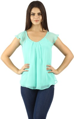 Uptowngaleria Casual Short Sleeve Woven Women's Green Top