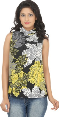 Adhaans Casual Sleeveless Floral Print Women's Black, Yellow Top