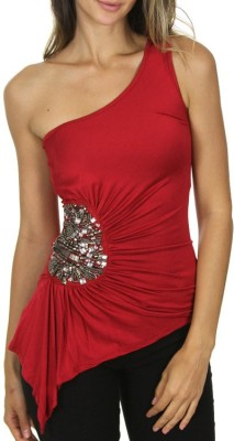 Danzon Casual, Party, Lounge Wear, Festive Sleeveless Embellished Women's Red Top