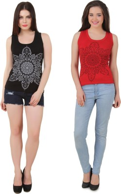 Yati Casual Sleeveless Printed Women's Red, Black Top
