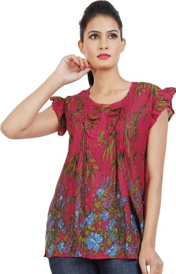 Dhrohar Casual Butterfly Sleeve Floral Print Women,s Red Top