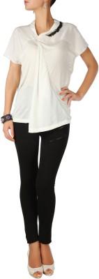 Karmik Casual Short Sleeve Self Design Women's White Top