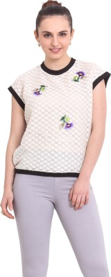 RSVP Cross Casual Short Sleeve Printed Women's White Top