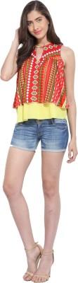 Ama Bella Casual Sleeveless Printed Women's Multicolor Top