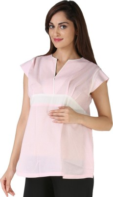 Morph Maternity Casual Cape Sleeve Polka Print Women's Pink Top