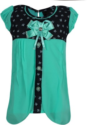 Jazzup Casual Short Sleeve Embellished Girl's Green Top