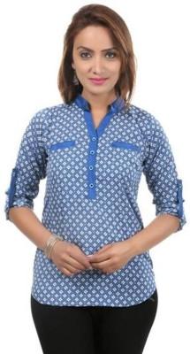 Moda Desire Casual 3/4 Sleeve Printed Women's Blue Top