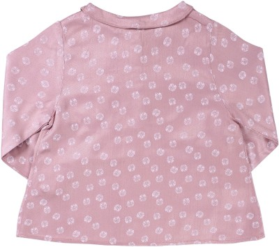 ShopperTree Casual Full Sleeve Printed Baby Girl's Brown Top