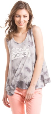 Prym Casual Sleeveless Self Design Women's Grey Top