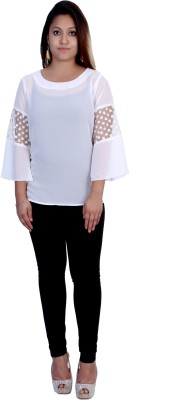 Indicot Casual, Formal, Party 3/4 Sleeve Solid Women's White Top