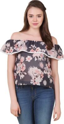 BrandMeUp Casual, Party, Formal, Beach Wear, Lounge Wear Cap sleeve Floral Print Women's Grey Top
