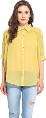 Instacrush Casual 3/4 Sleeve Solid Women,s Green Top