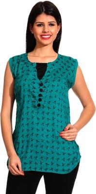 Ahhaaaa Casual Sleeveless Printed Women's Green Top