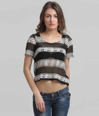 Moda Elementi Casual Short Sleeve Self Design Women's Black Top