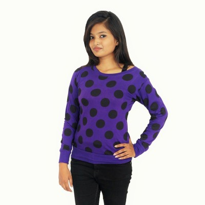 Zebra Path Casual Full Sleeve Polka Print Women's Purple Top